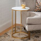 Walker Edison Modern Round End Table - Faux White Marble/Gold