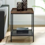 "Walker Edison 18"" Square Tray Side Table with Shelf - Dark Walnut"