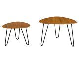 Walker Edison AF24HPNCWT Mid Century Modern Coffee Table Set - Walnut