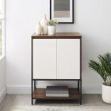 24'' 2 - Door Accent Cabinet with Lower Shelf - Dark Walnut/Solid White