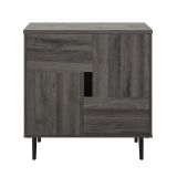 Walker Edison 30'' Color Pop Accent Cabinet - Slate Grey/Red Interior