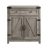 Walker Edison Farmhouse Barn Door Accent Cabinet - Grey Wash