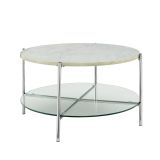 Walker Edison Round Coffee Table - Faux White Marble/Glass/Chrome