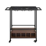 34'' Modern Industrial Bar Serving Cart - Faux Black Marble/Dark Walnut