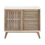 Mid Century Modern TV Stand Storage Cabinet - White/Reclaimed Barnwood