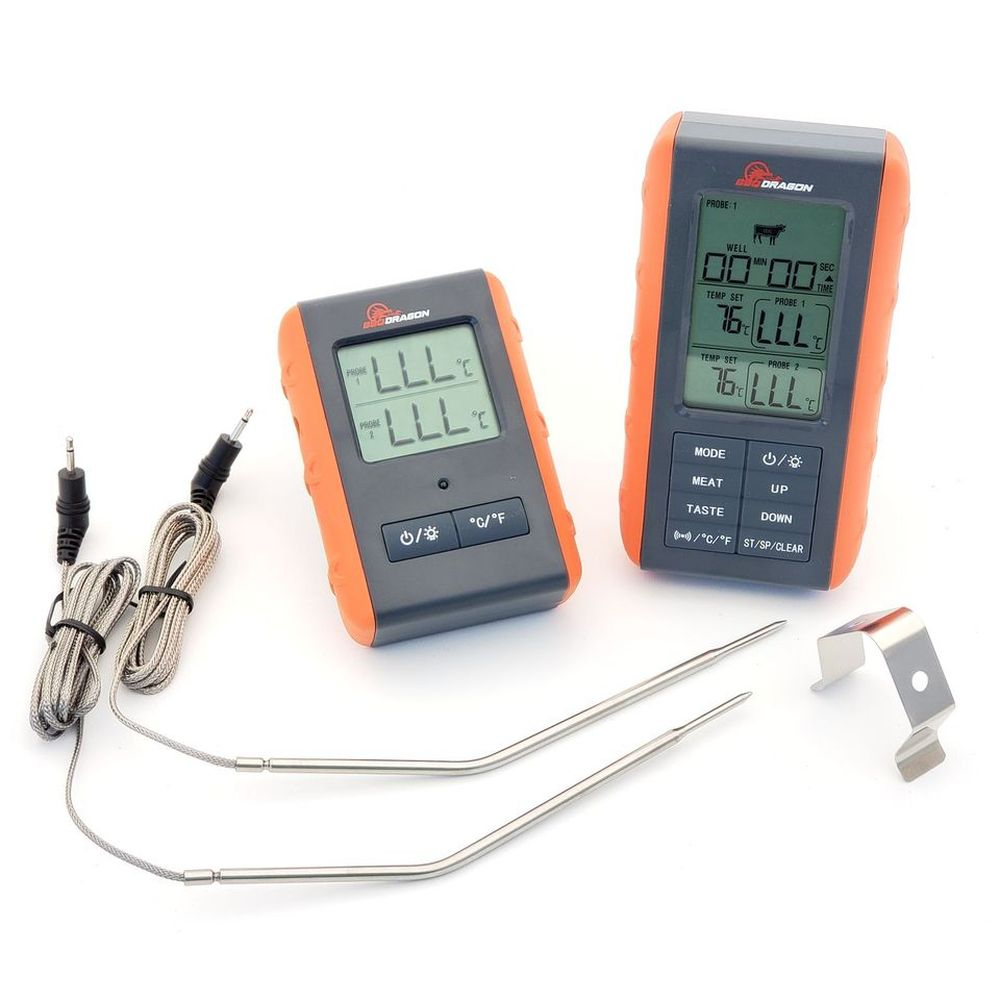 BBQ Dragon 2 Piece Wireless Meat Thermometer with Remote and 2 Probes