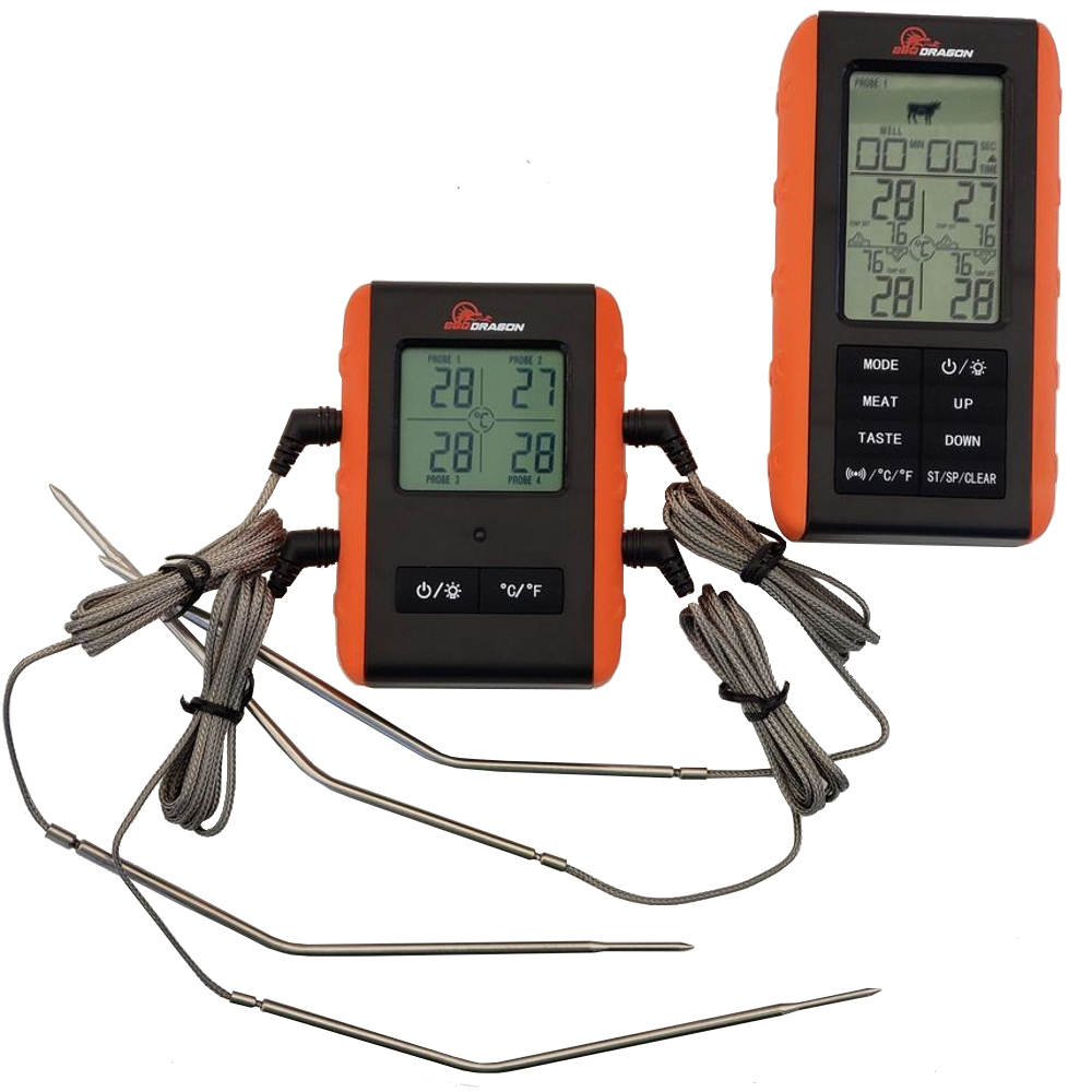 BBQ Dragon 2 Piece Wireless Meat Thermometer with Remote and 4 Probes