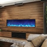 "Deep Indoor/Outdoor Electric Fireplace with Black Steel Surround - 72"" Model BI-72-DEEP"