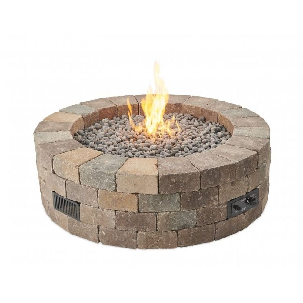 Outdoor GreatRoom Bronson Block Gas Fire Pit Kit - Round