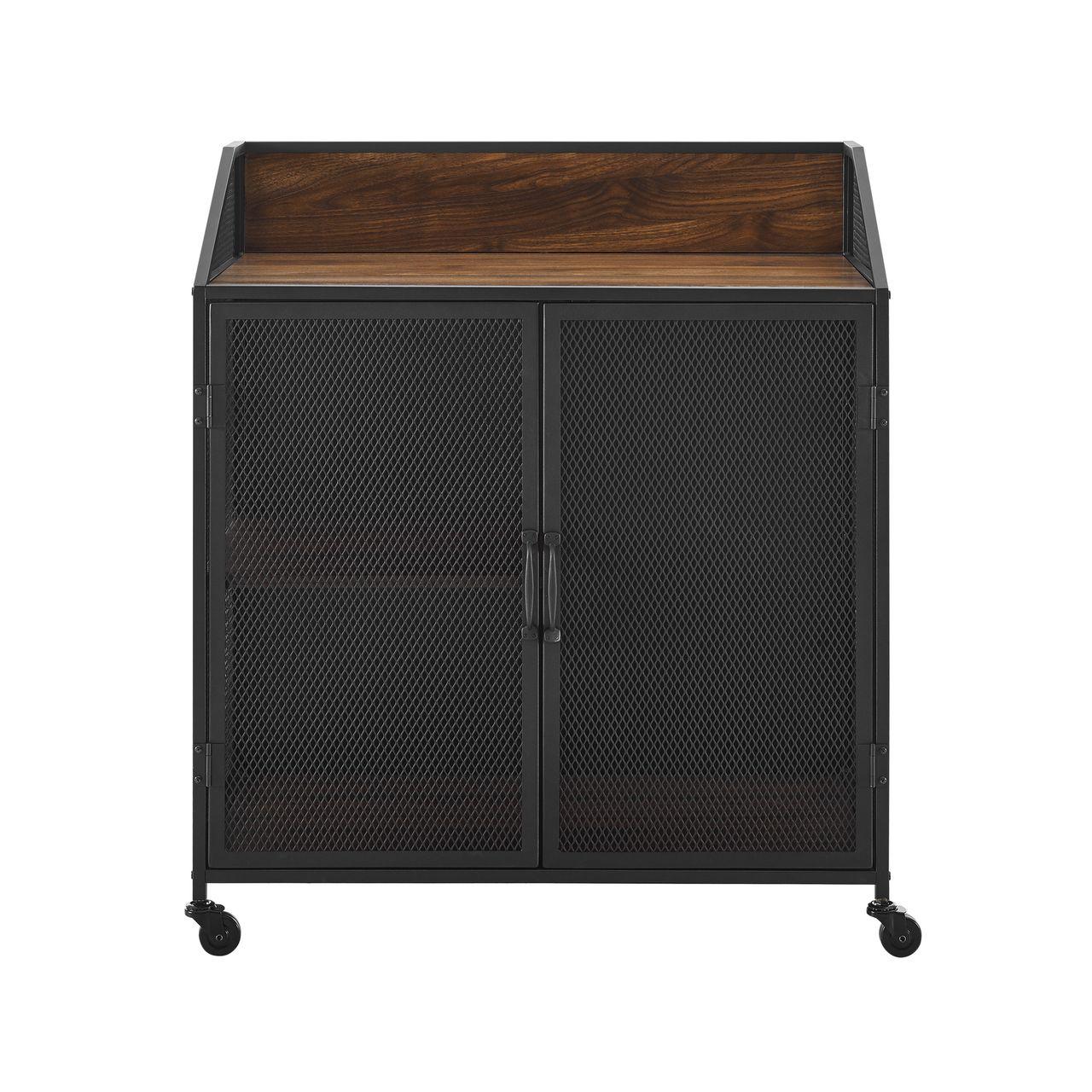 "Walker Edison 33"" Industrial Bar Cabinet - Dark Walnut"
