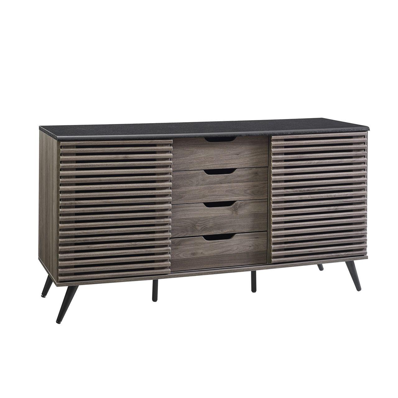 """Walker Edison 59"""" Havana 4 Drawer Sideboard - Ebony/Slate Grey"""