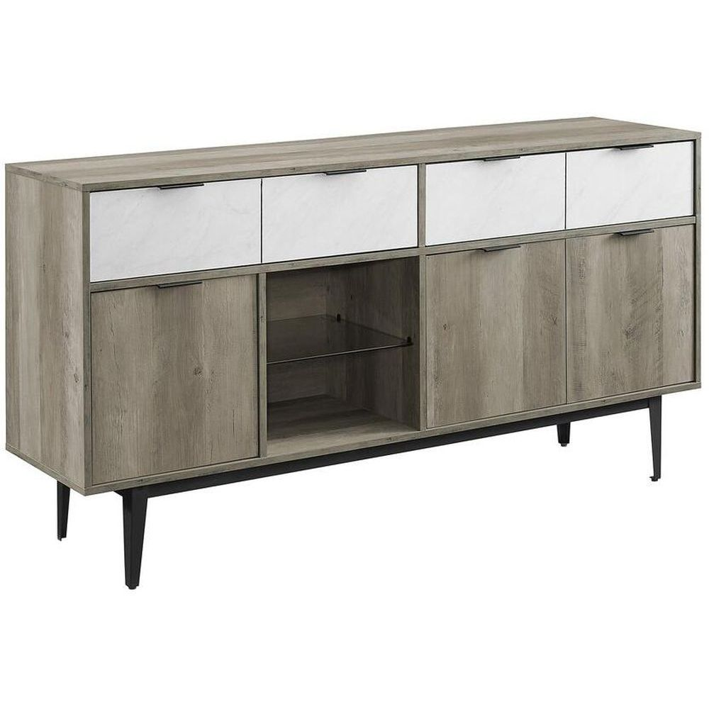 "Walker Edison Baltic 60"" Sideboard - White Faux Marble/Grey Wash"