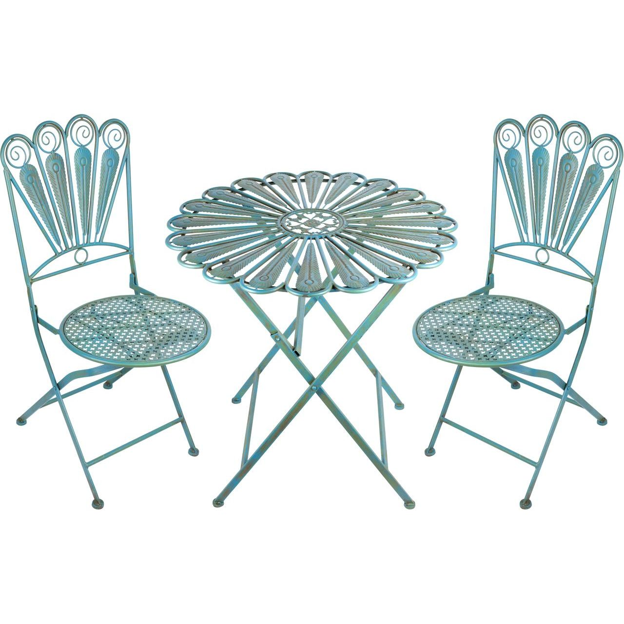 Alpine BVK608A Peacock Feather Table and Two Chairs Bistro Set