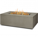 Real Flame C9811LP-MGRY Aegean Small Rectangle Gas Fire Table - Mist Gray