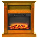 34 In. Electric Fireplace with Enhanced Log Display and Teak Mantel