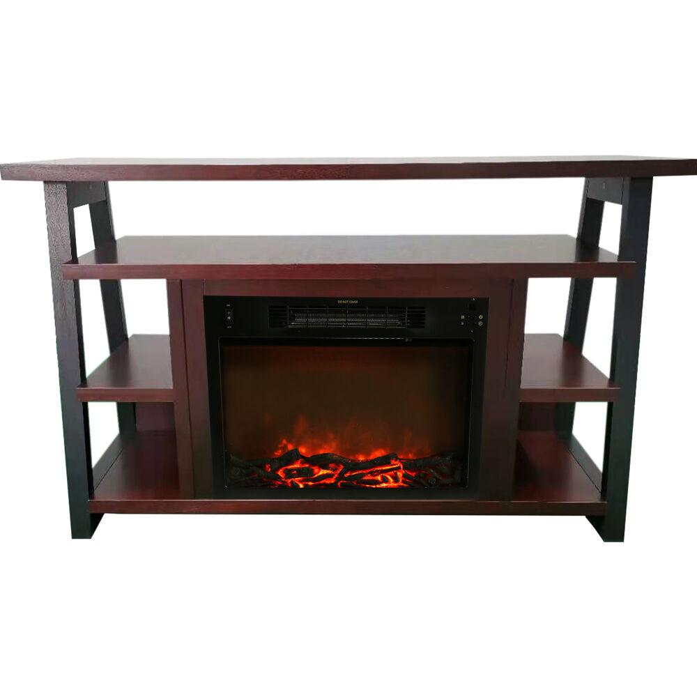 "Cambridge 32"" Sawyer Electric Fireplace Mantel/Log - Mahogany"