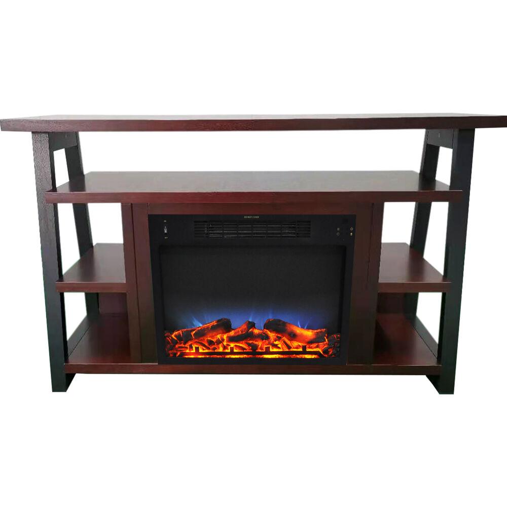 "Cambridge 32"" Sawyer Electric Fireplace Mantel/Logs/LED Flame - Mahogany"