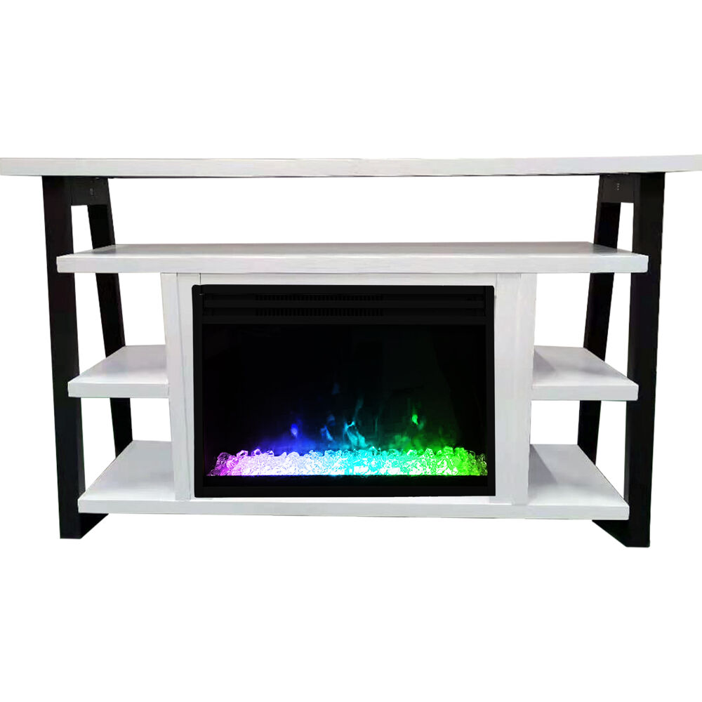 "Cambridge 32"" Sawyer Electric Fireplace Mantel/Crystals - WHT/BLK"