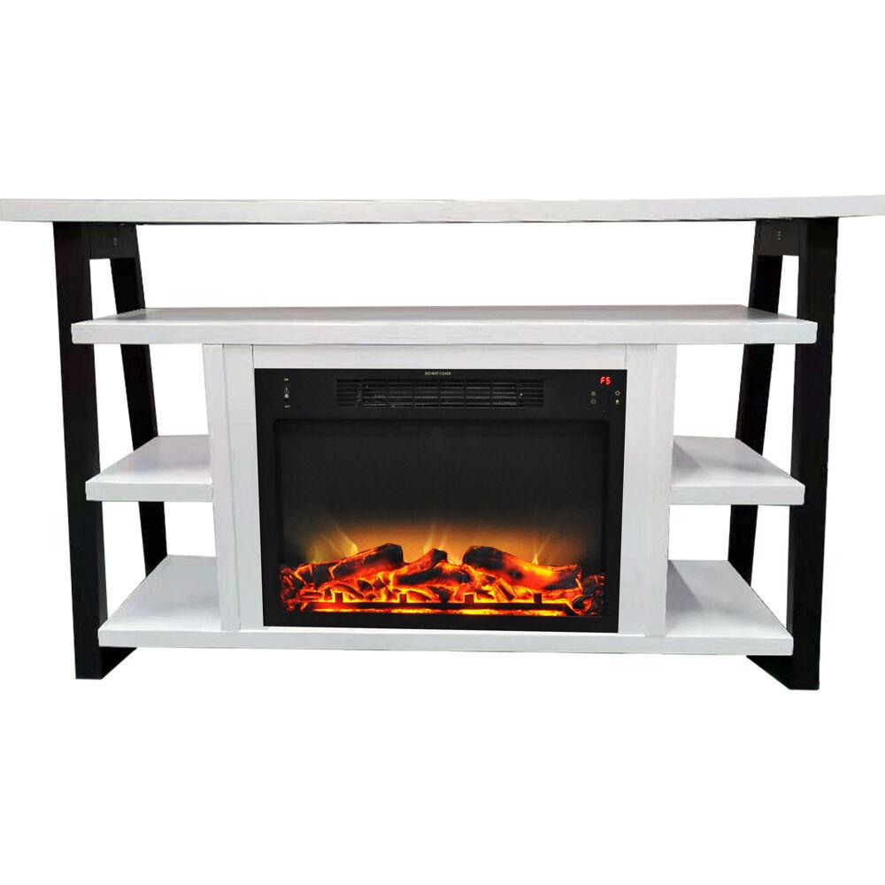 "Cambridge 32"" Sawyer Electric Fireplace Mantel/Logs/Grate - WHT/BLK"