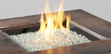"24"" x 24"" Square Crystal Fire Stainless Steel Burner with Glass Gems"