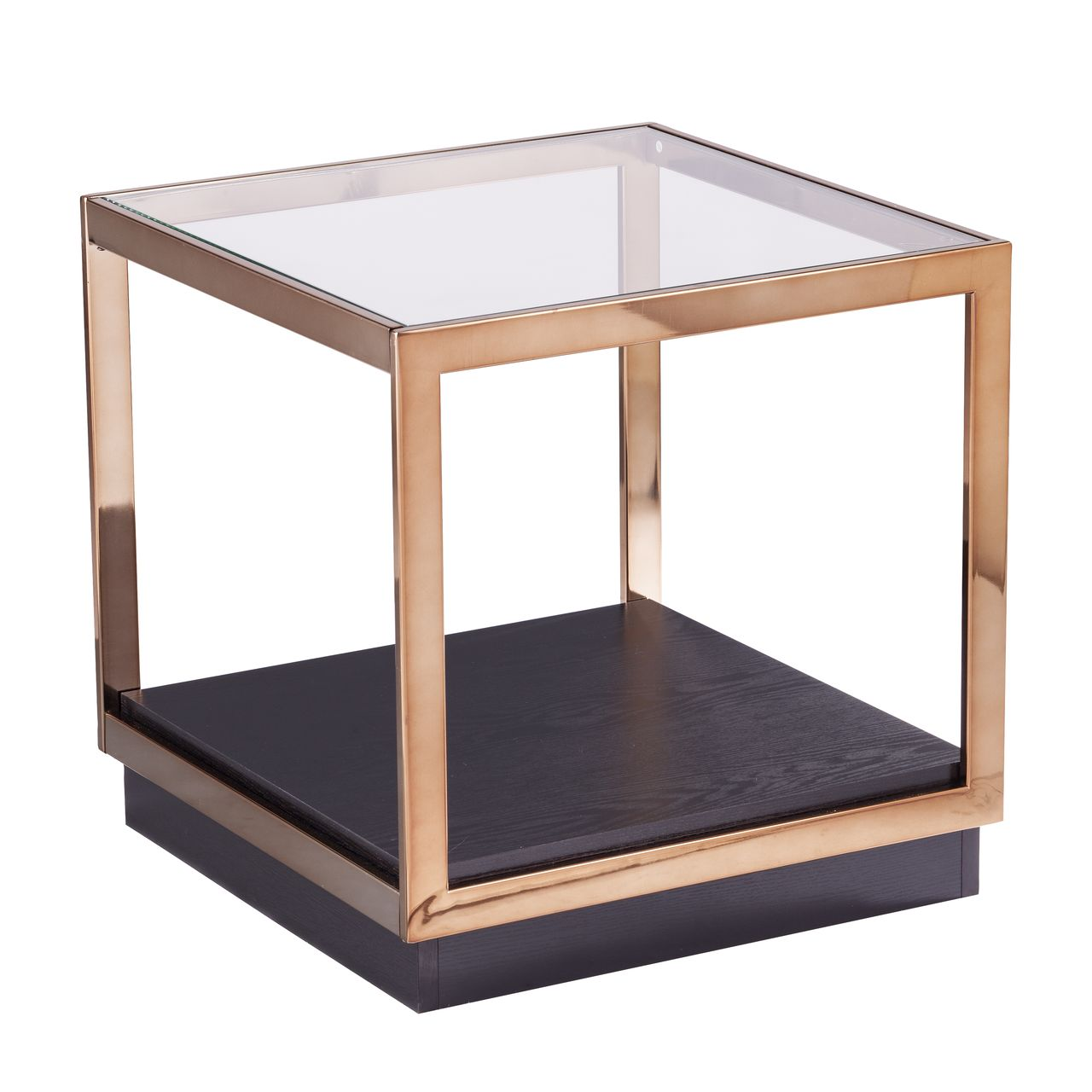 SEI Lexina Glass-Top Storage End Table in Champagne / Black