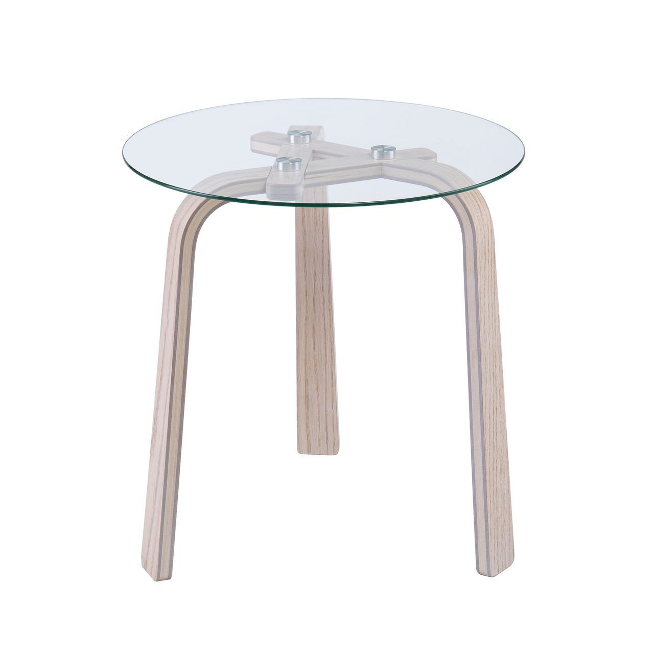 Holly & Martin Anwick Round Glass Top End Table in White