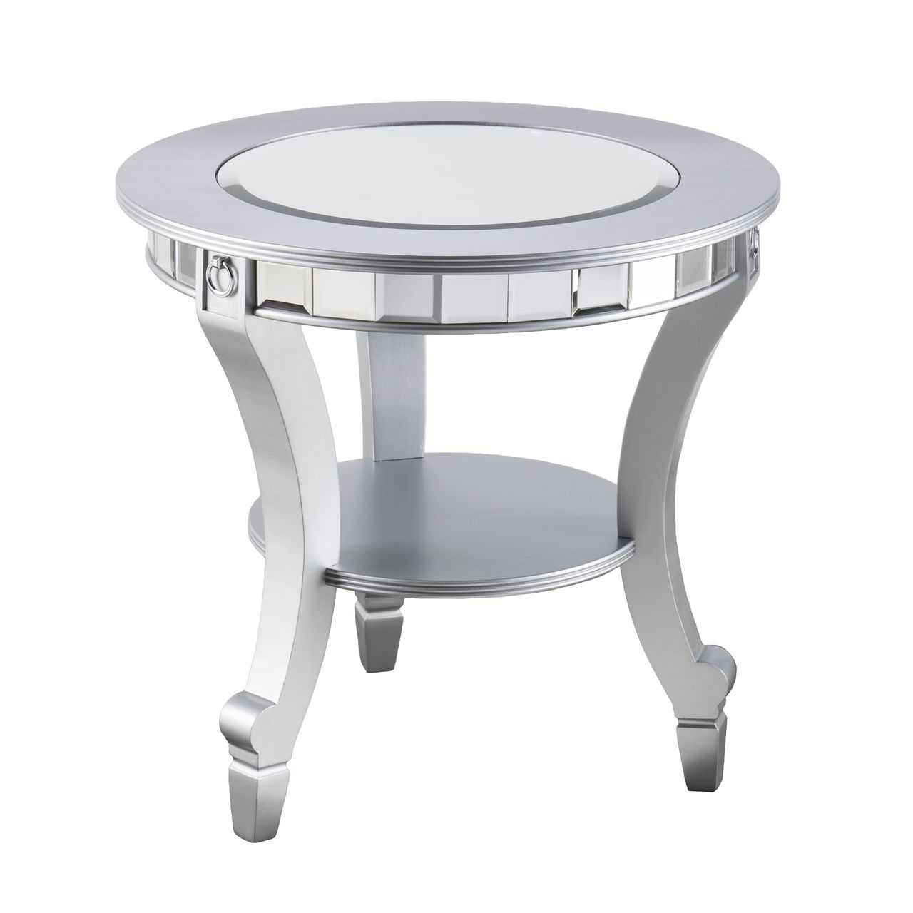 SEI Lindsay Glam Mirrored Round End Table in Matte Silver