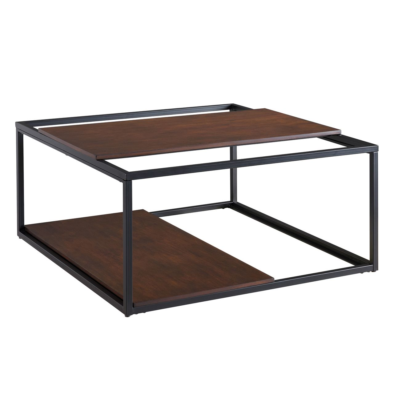 Holly & Martin Decklan Sliding Shelf Coffee Table in Tobacco / Black