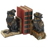 Knowledge Seekers Steampunk Cat and Owl Sculptural Bookends