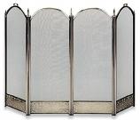 4 Fold Antique Brass Screen W/ Decorative Filigree