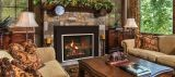 "Direct Vent 25"" MV NG Boston Buff Traditional Brick Firebox Liner Medium 4-Sided Surround Charred Rustic Oak Logs"
