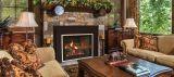 "Direct Vent 25"" MV LP Boston Buff Traditional Brick Firebox Liner Small 4-Sided Surround Charred Rustic Oak Logs"