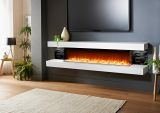 Evolution Fires 96'' Vegas Electric Fireplace - White & Grey Stone Panel