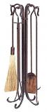 5 Pc Antique Copper Hammered Crook Fireset