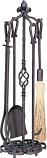 5 Pc Bronze Heavy Weight Fireset W/ Horseshoe Handle
