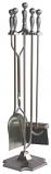5 Pc Satin Pewter Fireset W/ Pedestal Base