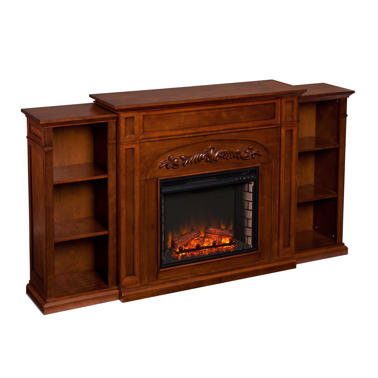 SEI Chantilly FE8532 Electric Fireplace With Bookcases in Autumn Oak