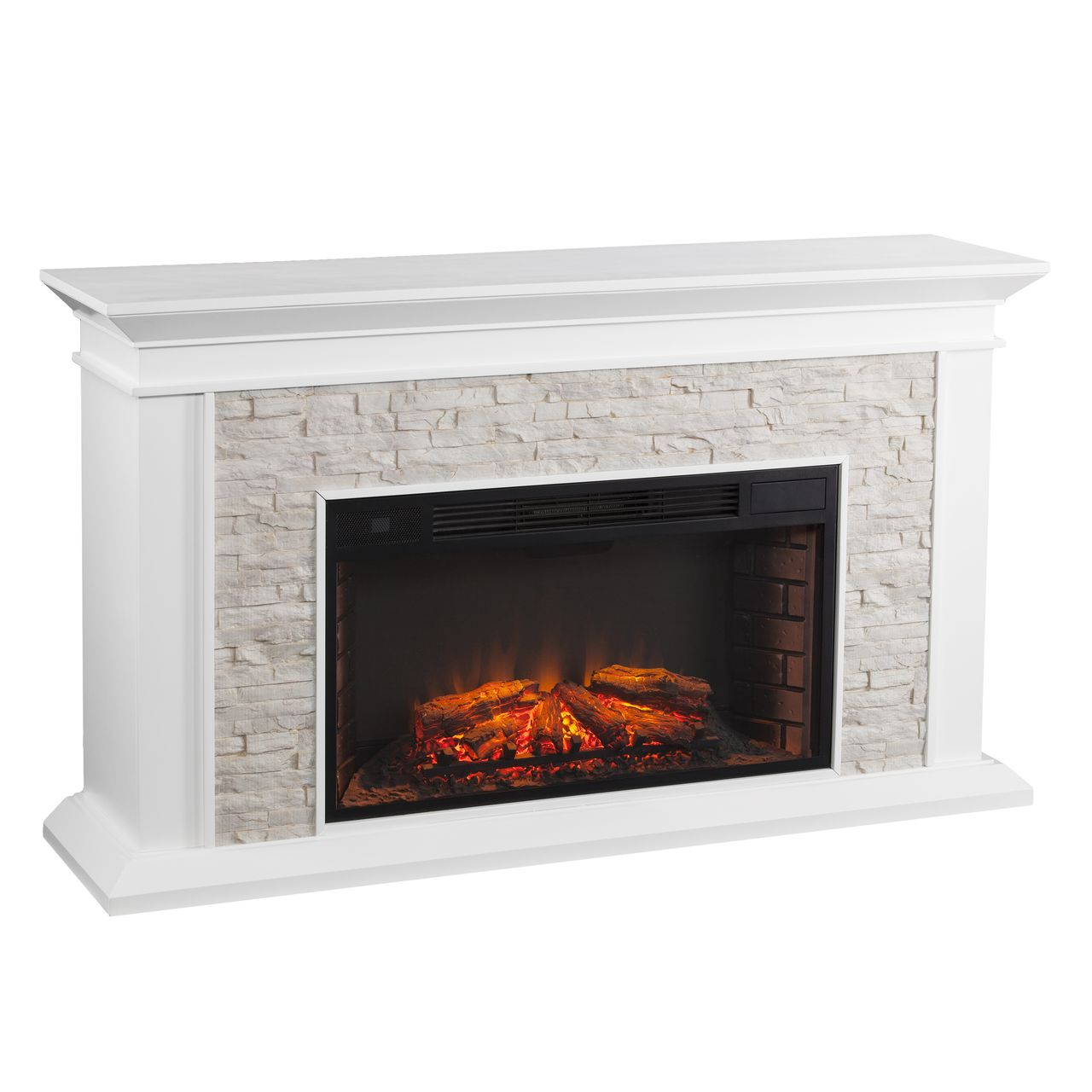 SEI Canyon Heights Faux Stacked Stone Electric Fireplace in White