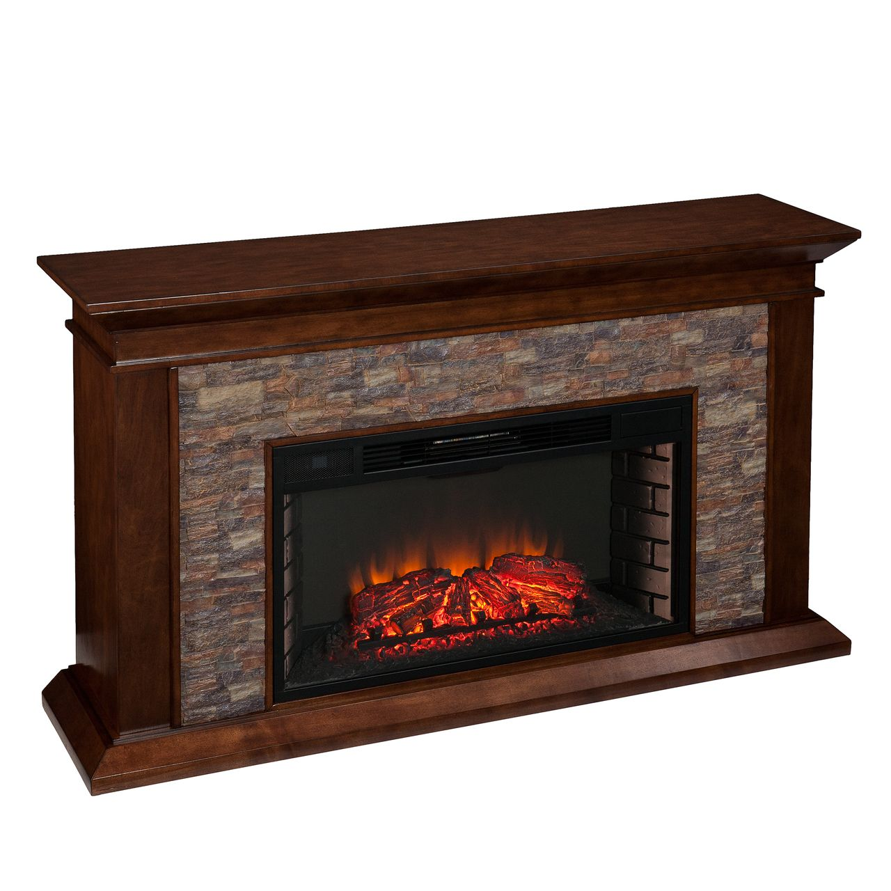 SEI Canyon Heights Simulated Stone Electric Fireplace in Whiskey Maple