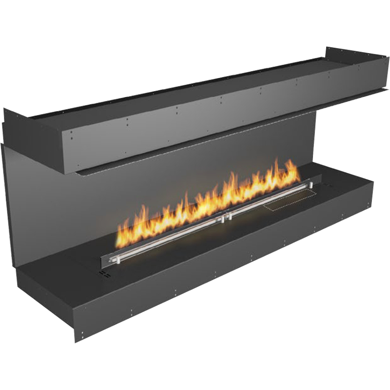 Planika Forma 72 in indoor Bay Fireplace With 59 in FLA Burner