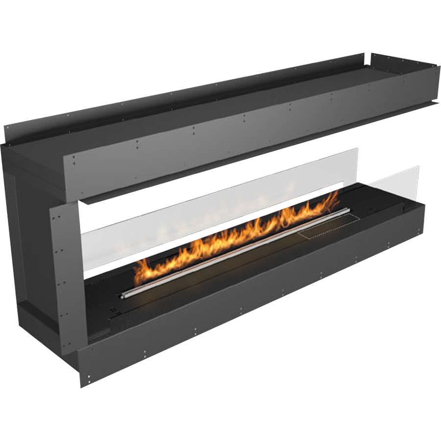 Planika Forma 72 in Pen insula Fireplace With 59 in FLA Burner