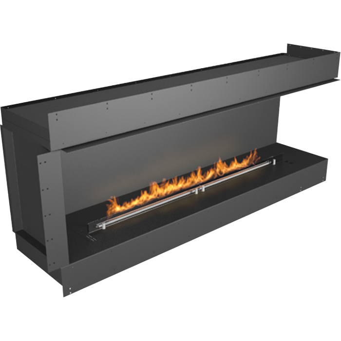 Planika Forma 72 in indoor Right Corner Fireplace With 59 in FLA Burner