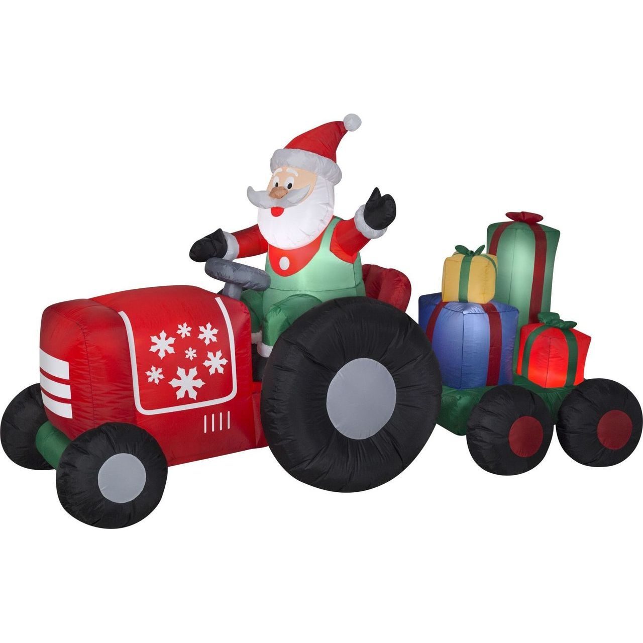 Gemmy Santa on Tractor with Presents Scene Inflatable Yard Decor