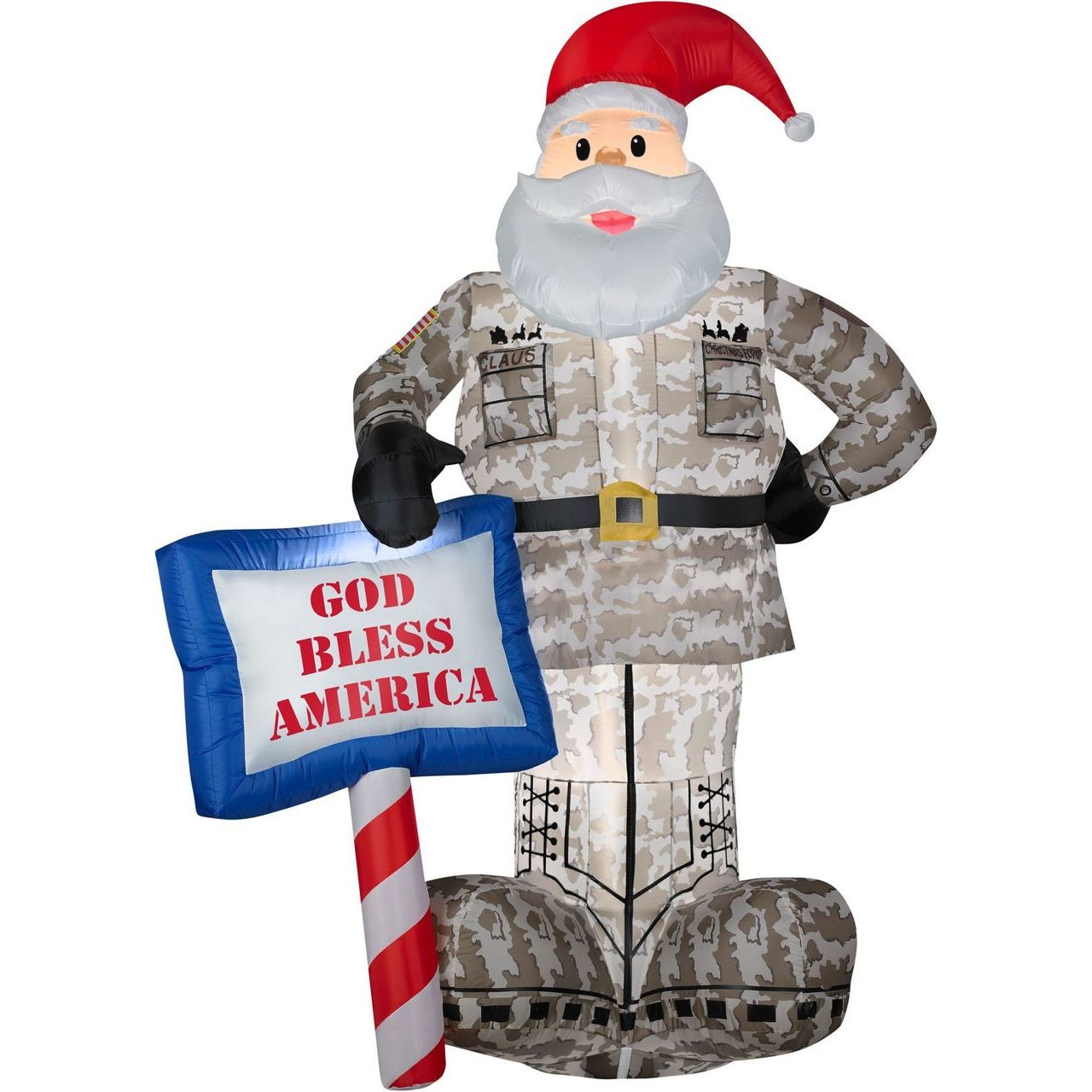 Gemmy Military Santa With God Bless America Sign Inflatable Yard Decor