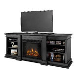 Fresno Black Entertainment Unit and Electric Fireplace
