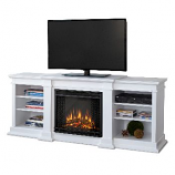 Fresno White Entertainment Unit and Electric Fireplace