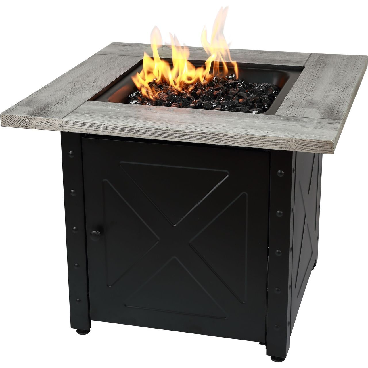"Endless Summer Mason 30"" Gas Fire Pit With Printed Wood Resin Mantel"