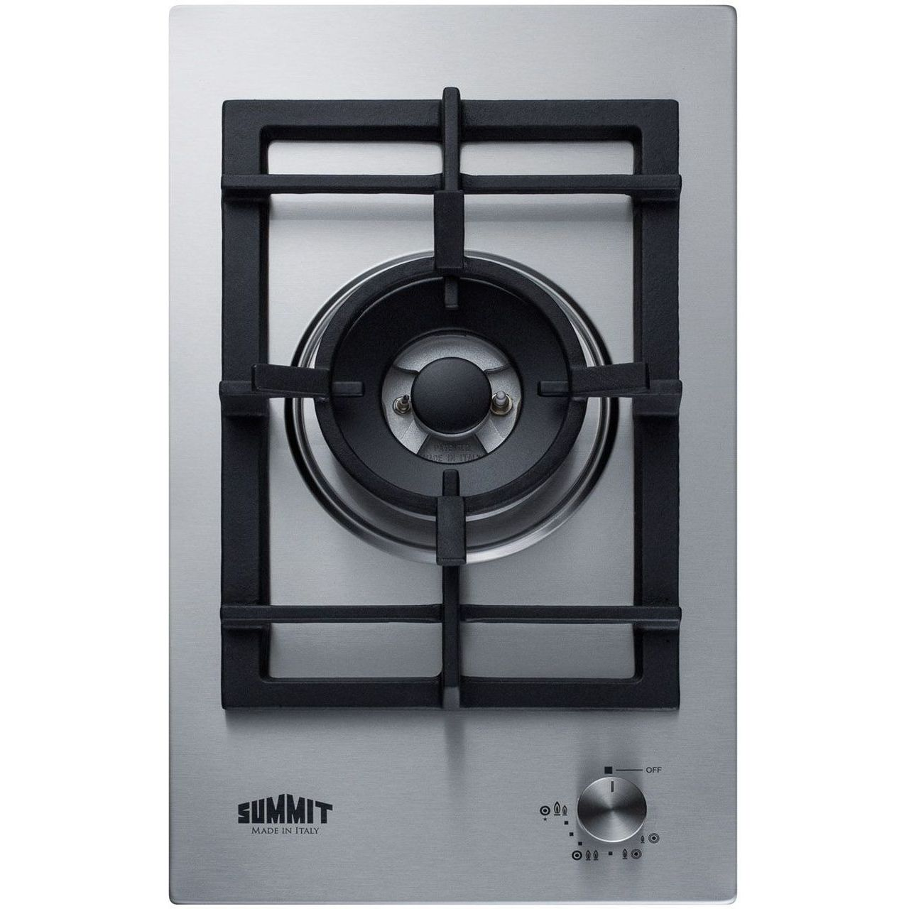 Summit GCJ1SS 12'' 1-Burner Gas Cooktop In Stainless Steel