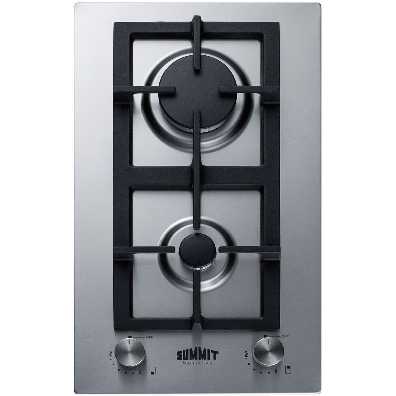 Summit GCJ2SS 12'' 2-Burner Gas Cooktop In Stainless Steel