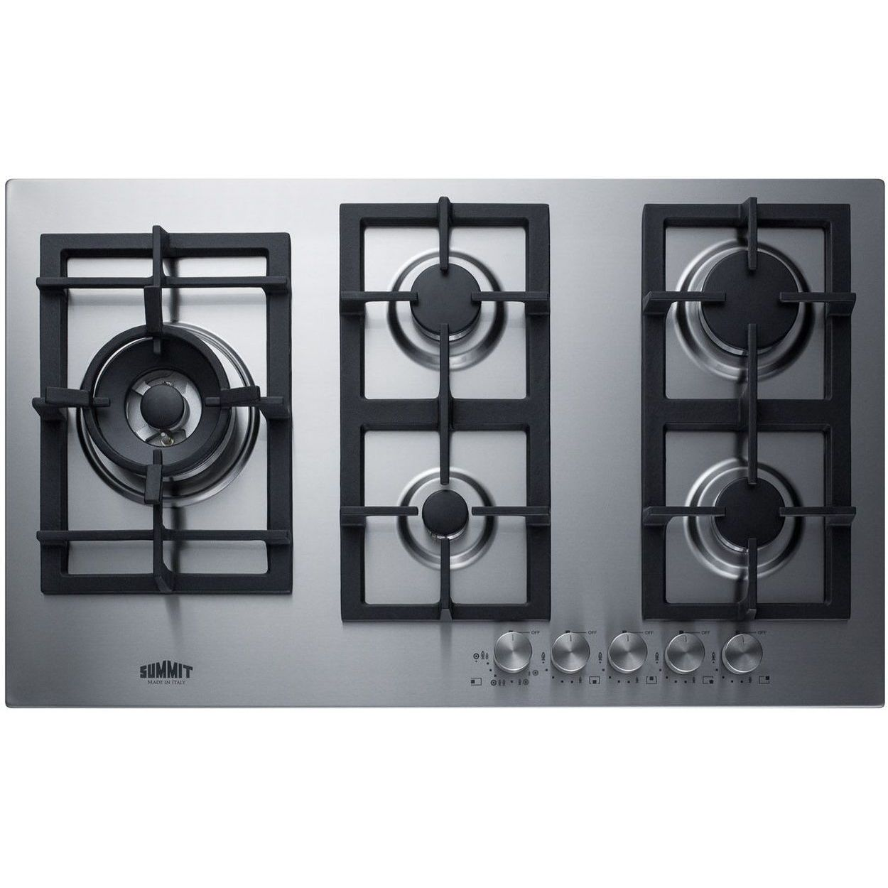 Summit GCJ536SS 34'' 5-Burner Gas Cooktop In Stainless Steel